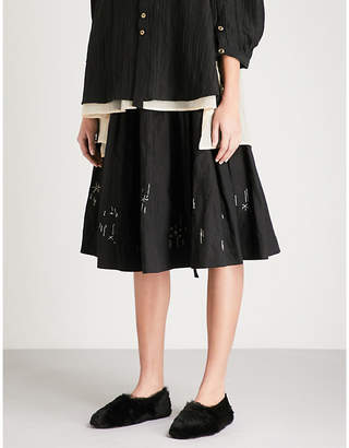 RENLI SU Embroidered cotton and linen-blend skirt