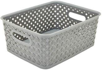 KENNEDY INTERNATIONAL Resin Wicker Storage Tote - Grey Small 10X8X4-Basket Weave