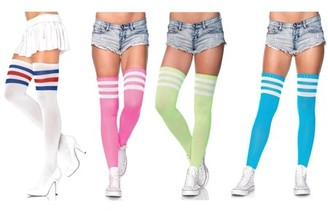 Leg Avenue Women's Athlete Thigh High Socks, One-Size, 4-Pair, Neon Assorted