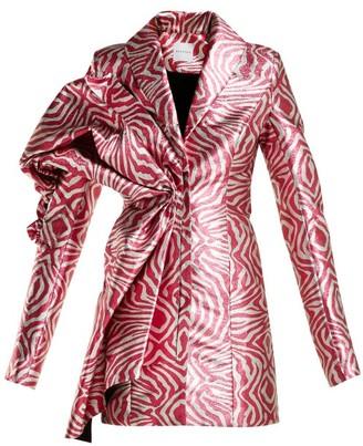 Halpern Zebra Print Lame Mini Dress - Womens - Pink Multi