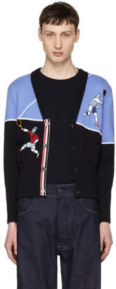 Thom Browne Navy Tennis Player Classic V-Neck Cardigan