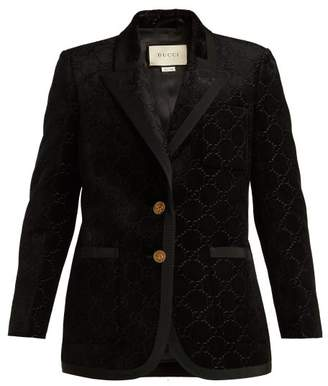 Gucci Single Breasted Logo Jacquard Blazer - Womens - Black
