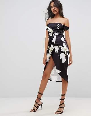 Asos Scuba Wrap Front Floral Bardot Midi Dress