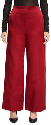 The Row Strom Silk Satin Wide-Leg Pants