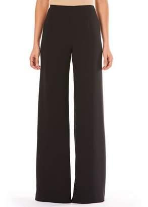 Carolina Herrera High-Waist Wide-Leg Pocketless Side-Zip Crepe Pants
