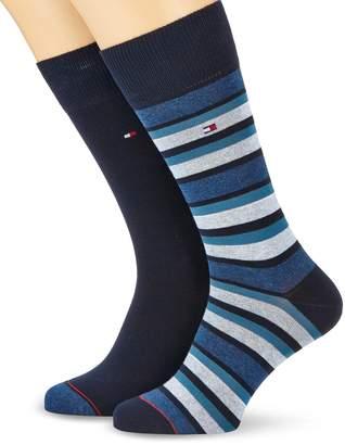 Tommy Hilfiger Men's 2-Pack Variation Stripe & Solid Socks, Navy UK 7-9