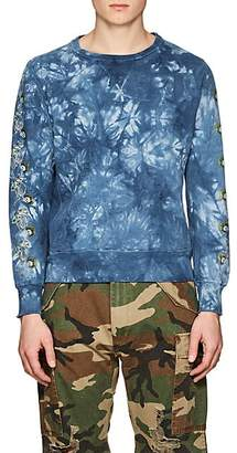 Remi Relief MEN'S SKULL-GRAPHIC TIE-DYED COTTON SWEATSHIRT - DK. BLUE SIZE XXXL