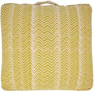 Linea Outdoor Printed Cotton Chevron Jute Floor Cushion