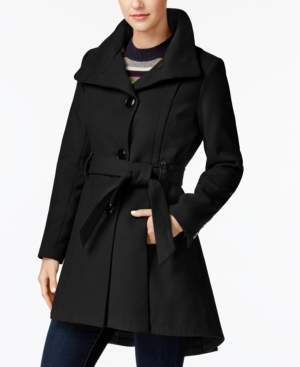 Madden-Girl Juniors' Faux-Leather-Trim Skirted Coat