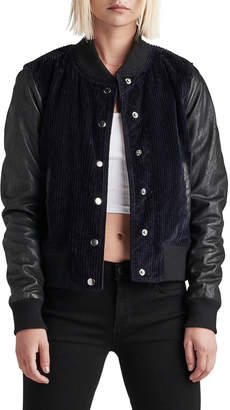 Hudson Leather Cord Varsity Bomber Jacket