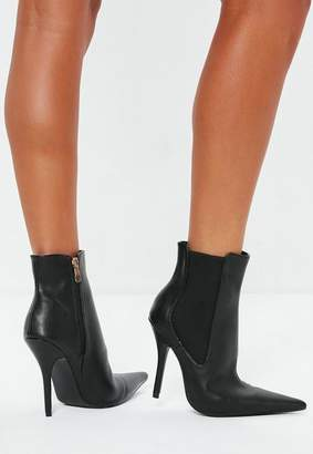 Missguided Black Extreme Point Heeled Chelsea Boots