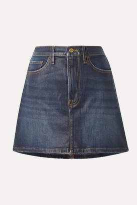 Frame Le Mini Coated Stretch-denim Skirt - Dark denim