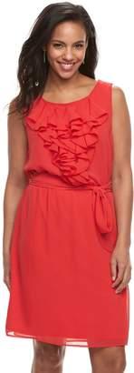 Women's Nina Leonard Ruffle Chiffon Shift Dress
