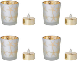 Mikasa Set of 4 Glass Votive Holders with LED Tealights