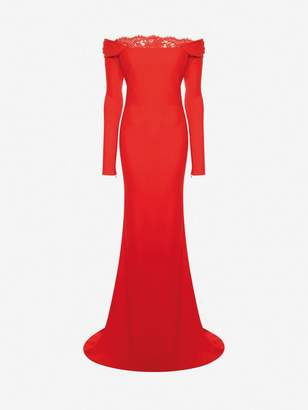 Alexander McQueen Off The Shoulder Evening Dress