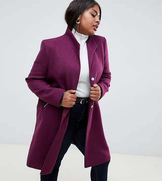 Asos DESIGN Curve smart funnel neck coat with contrast trim