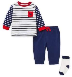 Little Me Baby Boy's Three-Piece Striped Cotton Top, Pants & Socks Set