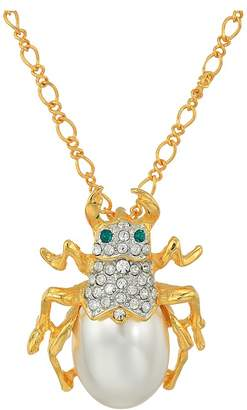 Kenneth Jay Lane 18 Gold Chain with Crystal and Pearl Beetle Pendant Necklace Necklace