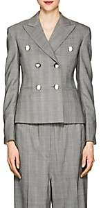 Calvin Klein Women's Glen Plaid Wool Crop Blazer - Black White Grenadine