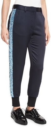 3.1 Phillip Lim Embellished Satin Track Pants, Midnight $695 thestylecure.com