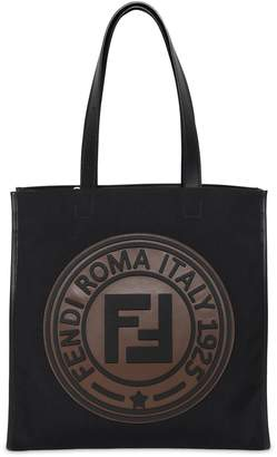 Fendi Circle Logo Canvas Tote Bag