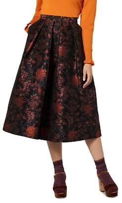 LK Bennett L.K.Bennett Delysia Floral Jacquard Midi Skirt