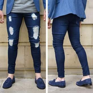 Betterone Men's Vintage Casual Ripped Broken Hole Jeans Denim Joggers Pants