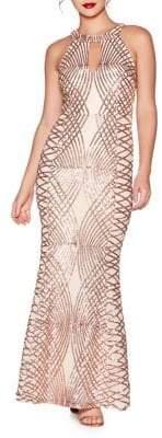 Quiz Geometric Sequin Fishtail Gown