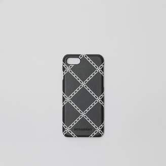 Burberry Link Print Leather iPhone 8 Case, Black
