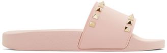 Valentino Pink Valentino Garavani Rockstud Pool Slides $295 thestylecure.com