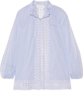 Zimmermann - Caravan Crochet-trimmed Striped Cotton-voile Blouse - Sky blue $580 thestylecure.com