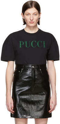 Emilio Pucci Black Glitter Logo T-Shirt