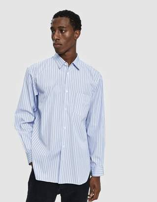 Comme des Garcons Forever Button Up Shirt in Blue Stripe