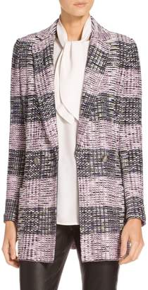 St. John Anna Plaid Knit Double Breasted Blazer