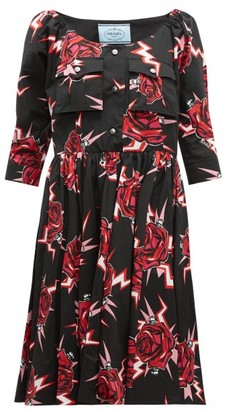 Prada Frankenstein Print Cotton Knee Length Dress - Womens - Black Multi