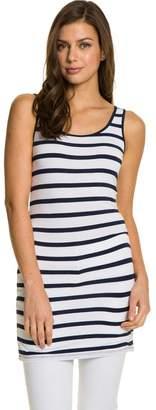 Le Château Women's Stripe Jersey Sleeveless Tunic,S
