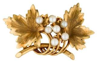 14K Pearl Accented Leaf Brooch yellow 14K Pearl Accented Leaf Brooch