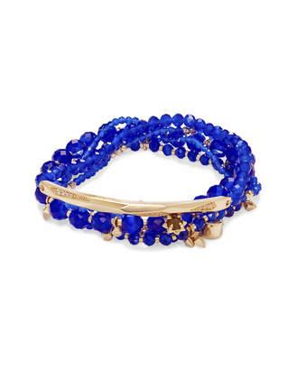 Kendra Scott Supak Gold Beaded Bracelet Set in Cobalt Cats Eye