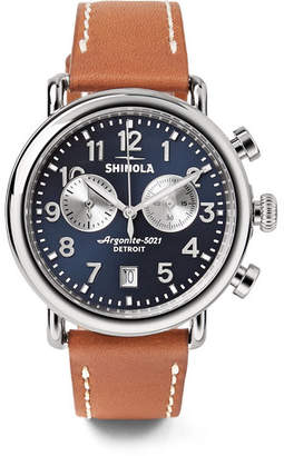 Shinola The Runwell Chronograph 41mm Stainless Steel and Leather Watch - Men - Midnight blue