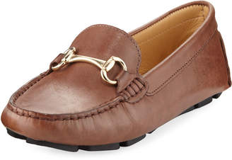 Neiman Marcus Daize Leather Flat Driver, Brown