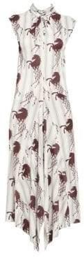 Chloé Viscose Jersey Horse Print Sleeveless Dress
