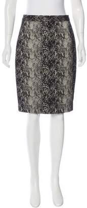 Lanvin Snake Skin Jacquard Pencil Skirt