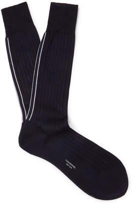 Thom Browne Striped Ribbed Cotton Socks