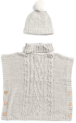 Little Girls Turtleneck Cape Sweater With Hat