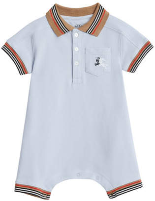 Burberry Kai Striped-Trim Polo Shortall w/ Hat, Size 1-18 Months