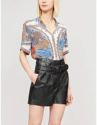 Sandro Bandana-print crepe short sleeved shirt