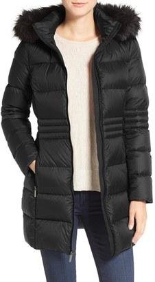 French Connection Faux Fur Trim Down Coat $158 thestylecure.com
