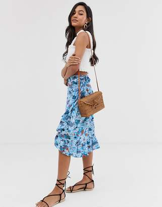 Ichi floral wrap skirt