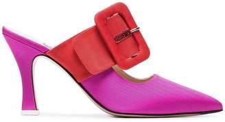 ATTICO Pink Chloe 85 Fabric Buckle Strap Mules