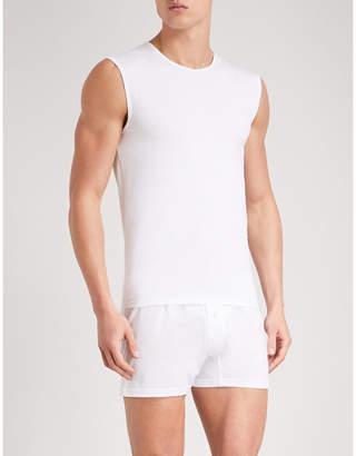 Ermenegildo Zegna Mens White Classic Solid Stretch-Cotton Pyjama Vest